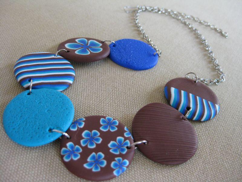 Sandra cr ations le collier lentilles hawaia bleu for Bleu turquoise et marron